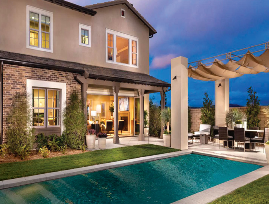 Pool in backyard